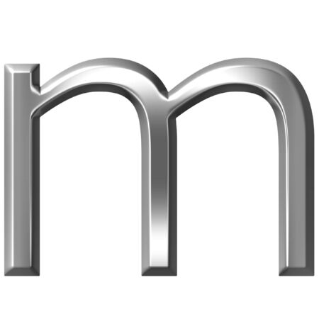 alphabetic character: 3d silver letter m isolated in white