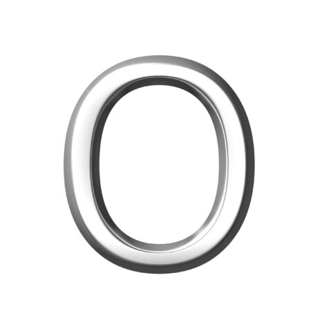 holed: 3d silver letter o isolated in white Stock Photo