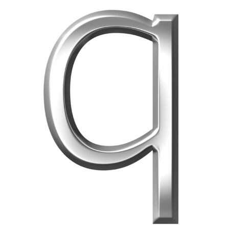 3d silver letter q isolated in white Stock Photo - 7433180