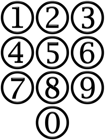 number button: 3d framed numbers
