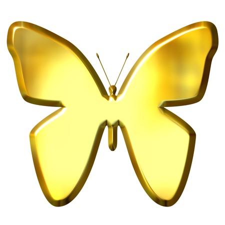 3d golden butterfly