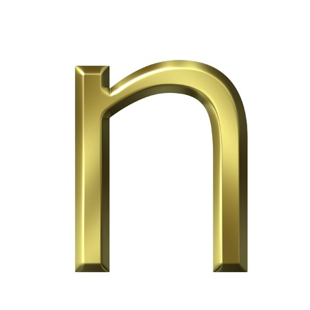 letter n: 3d golden letter n isolated in white Stock Photo