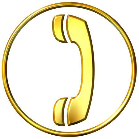 3d golden telephone sign  photo