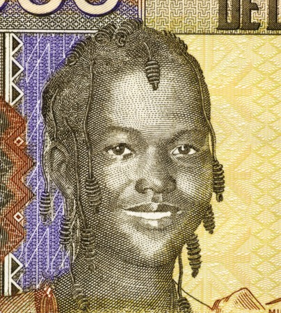 banknote uncirculated: Girl on 1000 Francs 2006 Banknote from Guinea.