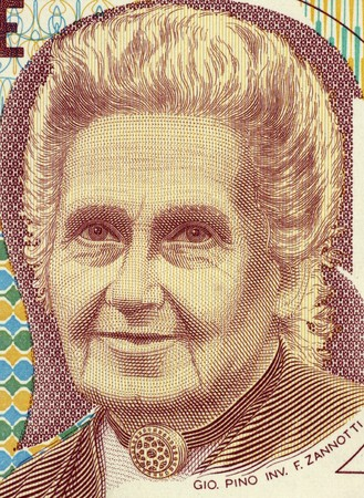 devout: Maria Montessori (1870-1952) on 1000 Lire 1990 Banknote from Italy. Physician, educator, philosopher, humanitarian and devout Catholic, best known for her philosophy and the Montessori method of educating children.