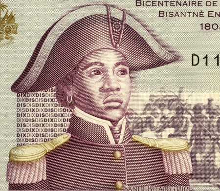 unifrom: Sanite Belair (1781-1805) on 10 Gourdes 2004 Banknote from Haiti. Freedom fighter and revolutionary, sergeant in the army of Toussaint Louverture.