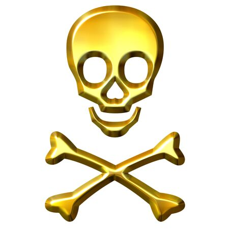 3d golden crossbones  Stock Photo - 7548352