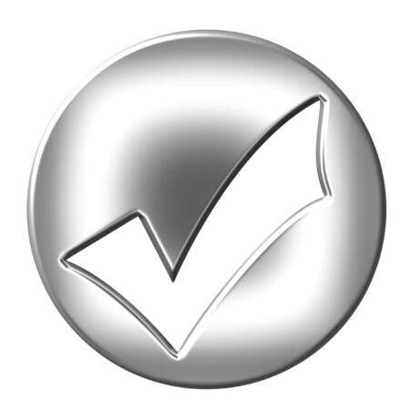 assurance: 3d silver framed tick  Stock Photo