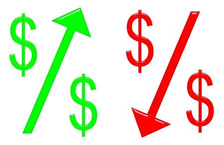 Raising and falling dollar concept Stock Photo - 7744968