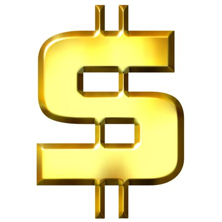 us dollar: 3d golden dollar symbol