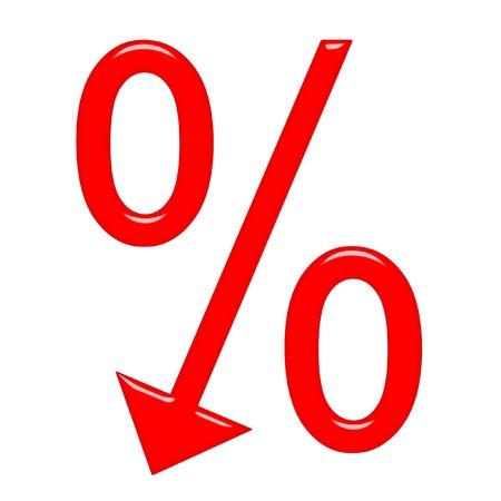 3D procentsymbool met pijl naar beneden gericht  Stockfoto