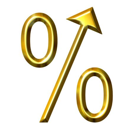 3d golden percentage symbol with integrated arrow directed up  photo