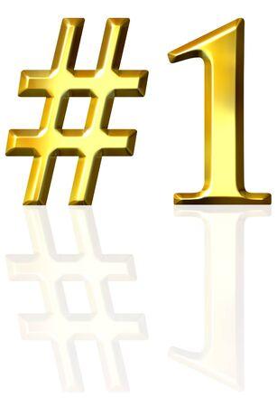 3D golden Nummer eins mit Reflektion