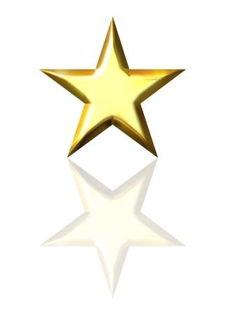 ster: 3D gouden ster met reflectie  Stockfoto