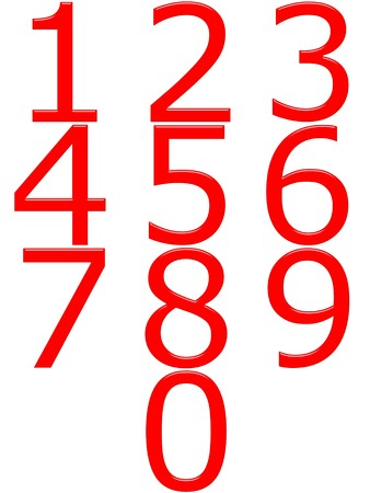 numbers clipart: 3d red numbers  Stock Photo