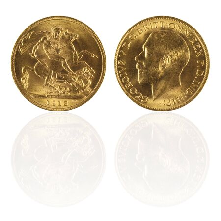 worthy: Gold sovereign with reflection  Stock Photo
