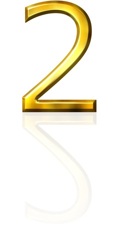 3d golden number 2 with reflection  photo