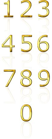 3d golden numbers with reflection  photo