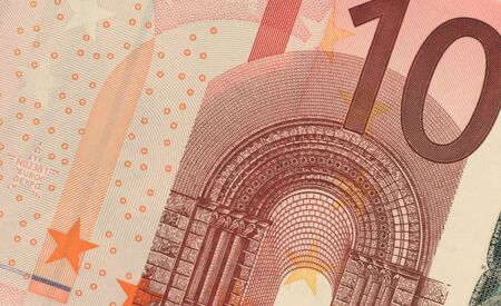 unc: Uncirculated ten euro banknote close up