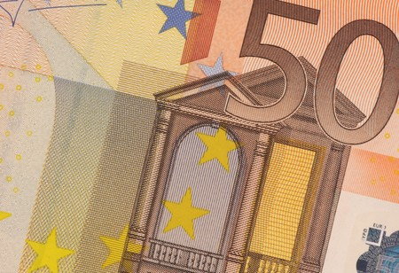 fifty euro banknote: Uncirculated fifty euro banknote  close up Stock Photo