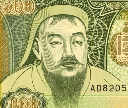 khan: Genghis Khan (1162-1227) on 500 Tugrik 1997 Banknote from Mongolia. Founder, ruler & emperor of the Mongol Empire which became the largest contiguous empire in history after his death.