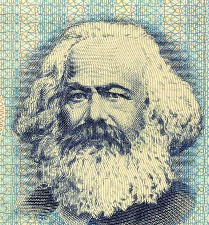 political economist:   Banknote from East Germany. German philosopher, political economist, historian, political theorist, sociologist  Stock Photo
