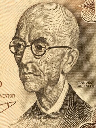 falla: Manuel De Falla (1876-1946) on 100 Pesetas 1970 Banknote from Spain. Classical music composer. One of Spains greatest musicians of the first half of the 20th century together with Isaac Albeniz and Enrique Granados.