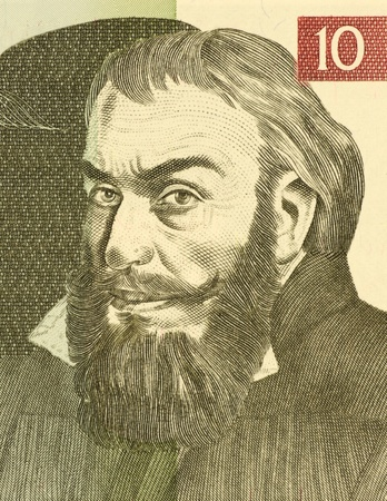 superintendent: Primoz Trubar (1508-1586) on 10 Tolarjev 1992 Banknote from Slovenia. Protestant reformer, founder and first superintendent of the Protestant Church of the Slovene Lands, consolidator of the Slovene language and author of the first Slovene printed book.