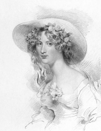 novelist: Anna Maria Porter (1780-1832) on engraving from the 1800s. Poet, novelist and Jane Porters sister. Engraved by T.Woolnoth after a drawing by G.Harlowe and published in London by Fisher, Son & Co in 1834. Editorial