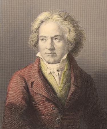 Ludwig van Beethoven (1770-1827) auf Stich aus der 1800er. Deutscher Komponist und Pianist. Einer der am meisten gefeierten und einflussreichen Komponisten aller Zeiten. Von W.Holl nach einem Gem�lde von Kloeber graviert und von W.Mackenzie ver�ffentlicht. Editorial