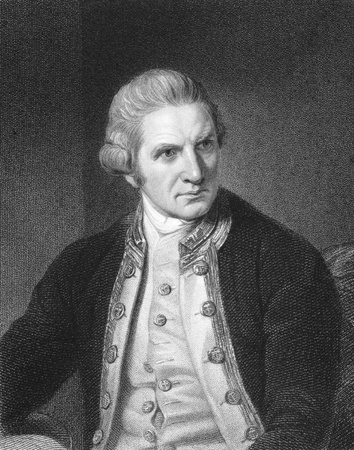 cartographer: Captain Cook (1728-1779) on engraving from the 1800s. English explorer, navigator and cartographer.  Engraved by E.Scriven from a picture by N.Dance and published in London by Charles Knight, Pall Mall East.
