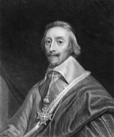 statesman: Cardinal Richelieu (1585-1642) on engraving from the 1800s. French clergyman, noble, and statesman. Engraved by T.Woolnoth and published in London by Charles Knight, Pall Mall East. Editorial