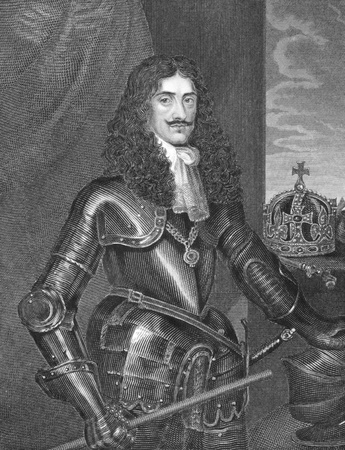 Charles II (1630-1685) on engraving from the 1800s. King of England, Scotland and Ireland during 1660-1685. Engraved by W.Finden and published in London by J.Tallis & Co. Stock Photo - 8520647