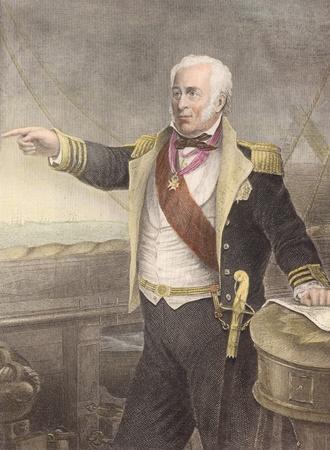 Charles John Napier (1786-1860) sur la main de couleur à la gravure du XIXe siècle. Officier de marine écossais dont soixante ans de la Royal Navy a inclus service dans les guerres napoléoniennes, guerre de Syrie et la guerre de Crimée et une période de commandant de la marine portugaise dans la Banque d'images - 8520732