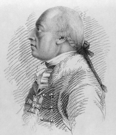 remembered: Dagobert Sigmund von Wurmser (1724-1797) on engraving from the 1800s. Austrian field marshal during the French Revolutionary Wars. Mostly remembered for his unsuccessful operations against Napoleon Bonaparte during the 1796 campaign in Italy. Published in