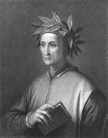 Dante Alighieri (1265 -1321) sur la gravure des années 1800. Poète italien du Moyen Age. Gravée par CE Wagstaff d'après une gravure de Raffaelle Morghen d'après une photo de Jofanelli et publiée à Londres par Charles Knight, Pall Mall East. Banque d'images - 8520583