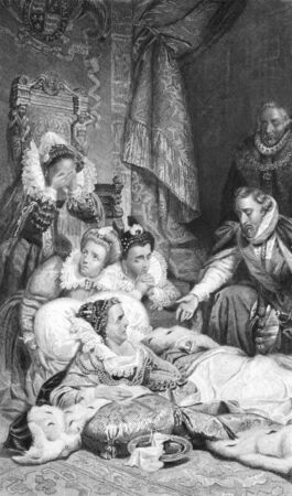 virtue: Death of Queen Elizabeth I on engraving from the 1800s. Published in London by Virtue & Co. Editorial