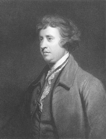 statesman: Edmund Burke (1729-1797) on engraving from the 1800s. Anglo-Irish statesman, author, orator, political theorist and philosopher. Mostly remembered for his opposition to the French Revolution. Leading figure within the conservative faction of the Whig part Editorial