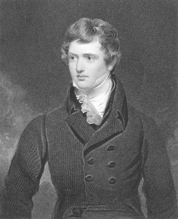 Edward Geoffrey Stanley, Earl of Darby (1799-1869) on engraving from the 1800s. English statesman, three times Prime Minister and longest serving leader of the Conservative Party. Engraved by H.Robinson after a painting by G.Harlow and published in London Stock Photo - 8510304