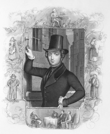 sue: Eugene Sue (1804-1857) on engraving from the 1800s. French novelist. Engraved by A.H Payne.