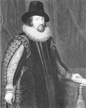 bacon portrait: Francis Bacon (1561-1626) on engraving from the 1800s. English philosopher, statesman, lawyer, jurist, author and scientist. Engraved by J.Cochran from a picture by Van Somer and published by J.F.Tallis.