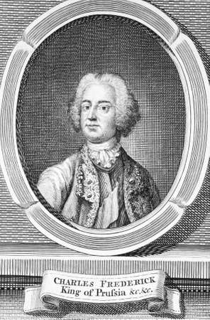 Frederick II (1712-1786) on engraving from the 1700s. King of Prussia during 1740-1786. Printed for R.Baldwin in 1756 for London Magazine.