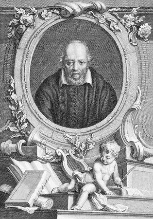 humanist: George Buchanan (1506-1582) on engraving from the 1700s. Scottish historian and humanist scholar. Engraved by T.Cook and published by G.Kearsly, No 46 Fleet Street in 1776.  Editorial