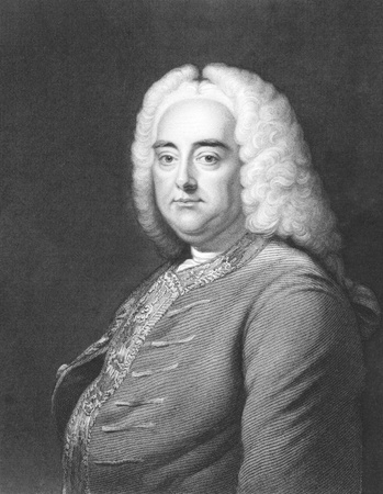 composer: George Frideric Handel (1685-1759) on engraving from the 1800s. German Baroque composer best known for his operas, oratorios and concertos. Engraved by J.Thomson and published in London by Charles Knight, Pall Mall East. Editorial