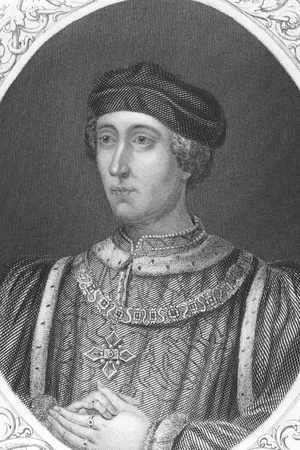 vi: Henry VI (1421-1471) on engraving from the 1800s. King of England during 1422-1461 & 1470-1471. Engraved from a painting on panel at Kensington Palace.