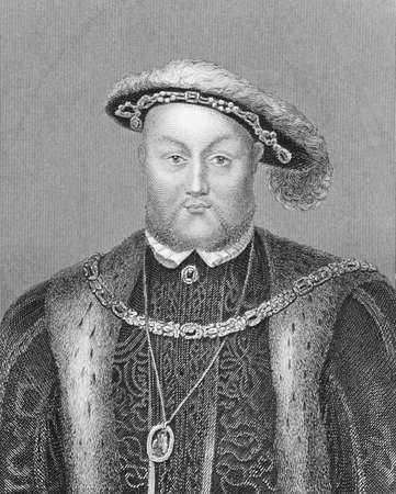 viii: Henry VIII (1491-1547) on engraving from the 1800s. King of England during 1509-1547. Engraved by Edwards from an original portrait by Holbein and published by Virtue in London England, 1848.