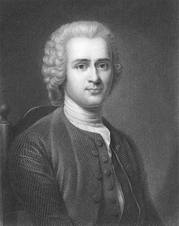 composer: Jean-Jacques Rousseau (1712-1778) on engraving from the 1800s. Major Genevois philosopher, writer and composer. Engraved by R.Hart and published in London by Charles Knight, Ludgate Street.