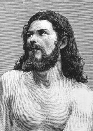 Jesus Christ on engraving from the 1800s. Perfomed by Joseph Mair in the Oberammergau Passion Play. Published in the Graphic in 1870.