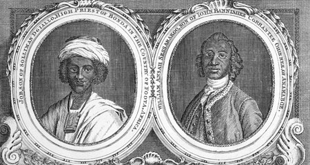 high priest: Job, Son of Solliman D Giallo, High Priest of Bonda in the Country of Foota, Africa and William Ansah Sessarakoo, Son of John Bannishee Corrantee, of Anamaboe. Engraving from 1750 published in Gent Magazine. Editorial