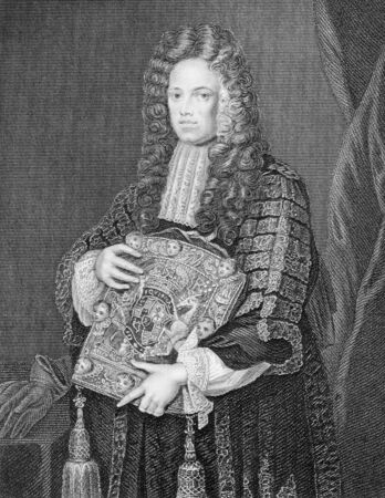 whig: John Somers, 1st Baron Somers (1651-1716) on engraving from the 1800s. English Whig jurist and statesman. Engraved by W.T.Mote and published by the London Printing and Publishing Company. Editorial
